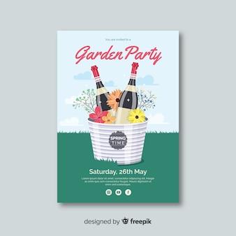 Modelo de cartaz de festa de primavera champanhe