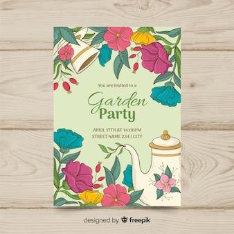 Modelo de cartaz de festa de primavera desenhada de mão