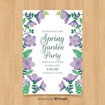 Modelo de cartaz de festa de primavera plana violeta