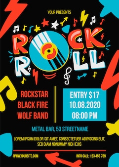 Modelo de cartaz de festa de rock and roll