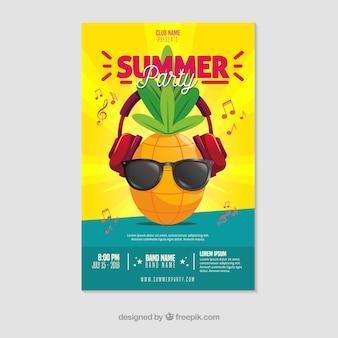 Modelo de cartaz de festa de verão com design plano