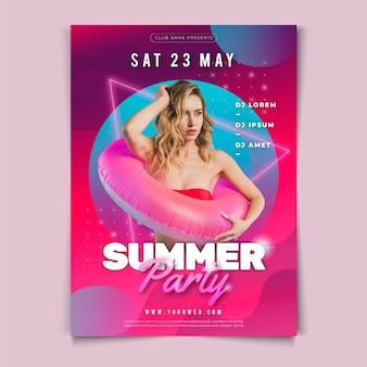 Modelo de cartaz de festa de verão com foto