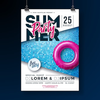 Modelo de cartaz de festa de verão com letra de tipografia e float