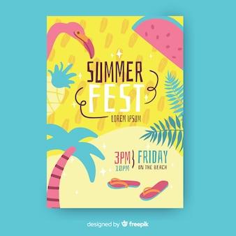 Modelo de cartaz de festa de verão desenhada mão