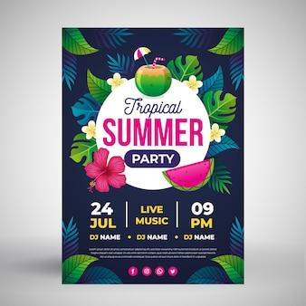 Modelo de cartaz de festa de verão design plano