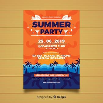 Modelo de cartaz de festa de verão estilo simples