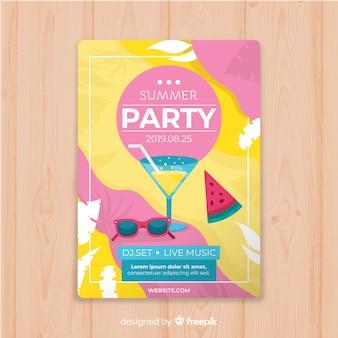 Modelo de cartaz de festa de verão plana
