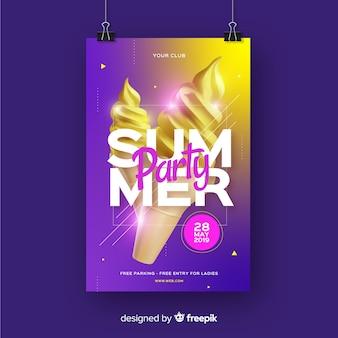 Modelo de cartaz de festa de verão realista