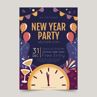 Modelo de cartaz de festa desenhada ano novo 2020