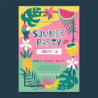 Modelo de cartaz de festa desenhada verão mão