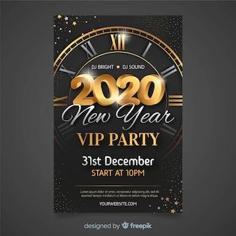 Modelo de cartaz de festa design plano ano novo 2020