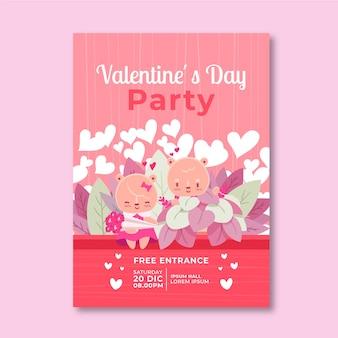 Modelo de cartaz de festa dia dos namorados desenhados à mão