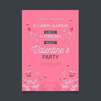 Modelo de cartaz de festa dia dos namorados mão desenhada
