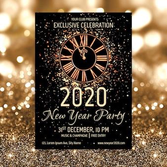 Modelo de cartaz de festa em aquarela ano novo 2020