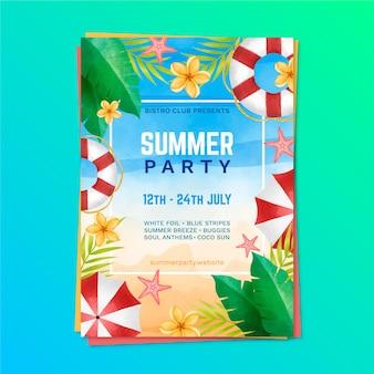 Modelo de cartaz de festa em aquarela de verão