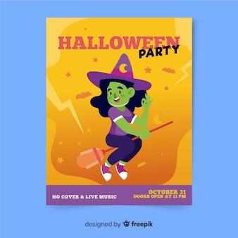 Modelo de cartaz de festa halloween desenhado à mão