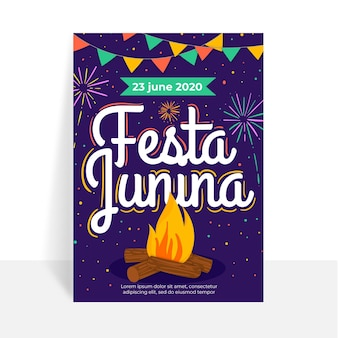 Modelo de cartaz de festa junina de design plano