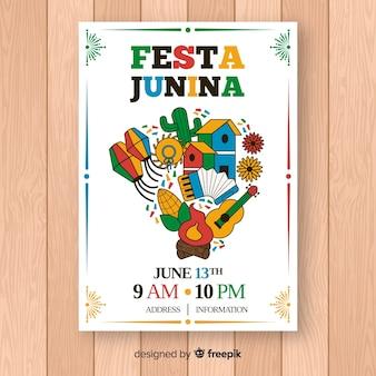 Modelo de cartaz de festa junina de mão desenhada