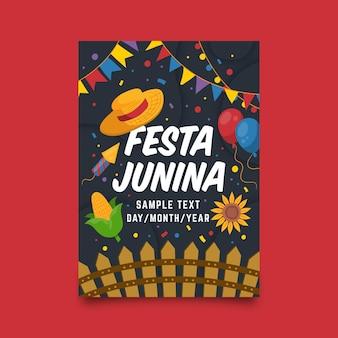 Modelo de cartaz de festa junina desenhada de mão