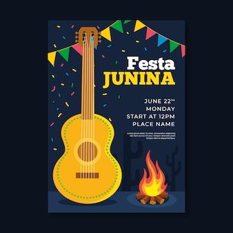 Modelo de cartaz de festa junina em design plano