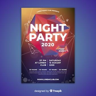 Modelo de cartaz de festa noite abstrata