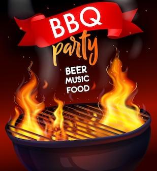 Modelo de cartaz de festa para churrasco. composição de grelha de churrasco com chama de fogo realista com música de cerveja para festa de churrasco título alimentar