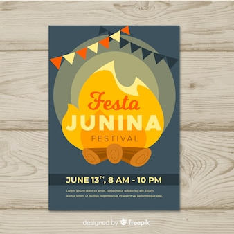 Modelo de cartaz de festa plana junina