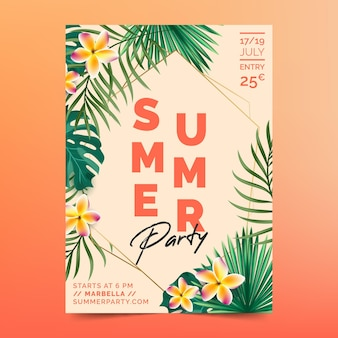 Modelo de cartaz de festa realista de verão