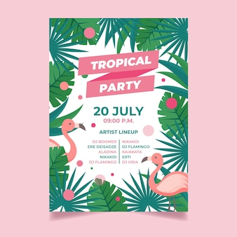 Modelo de cartaz de festa tropical com folhas e flamingos