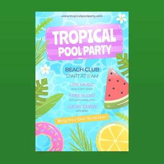 Modelo de cartaz de festa tropical com melancia e limão