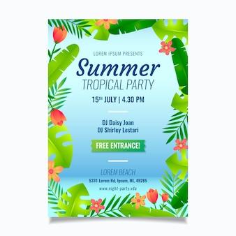 Modelo de cartaz de festa tropical verão