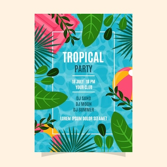 Modelo de cartaz de festa tropical