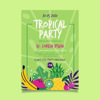 Modelo de cartaz de festa tropical