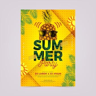 Modelo de cartaz de festa verão abstrato com foto