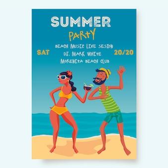 Modelo de cartaz de festa verão com pessoas na praia