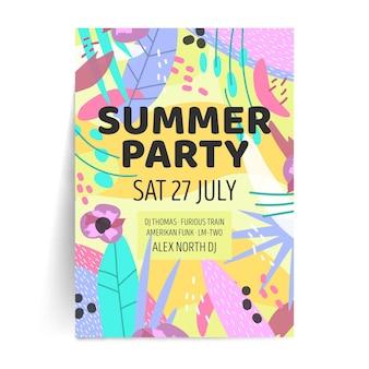 Modelo de cartaz de festa verão em design plano