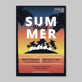 Modelo de cartaz de festa verão plana
