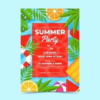 Modelo de cartaz de festa vertical plana orgânica de verão