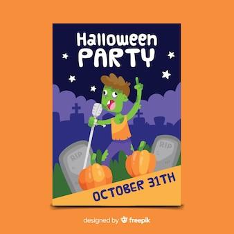 Modelo de cartaz de festa zumbi halloween