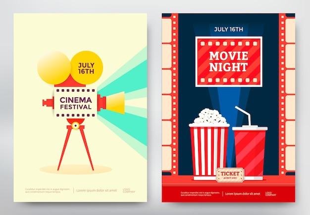 Modelo de cartaz de festival de cinema e noite de cinema