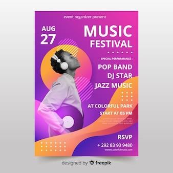 Modelo de cartaz de festival de música com foto