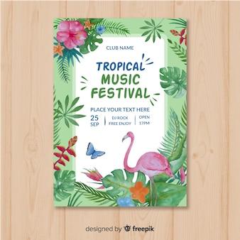 Modelo de cartaz de festival de música em aquarela