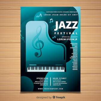 Modelo de cartaz de festival de música realista
