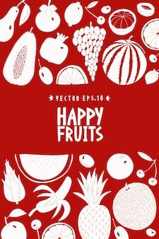 Modelo de cartaz de frutas escandinavas mão desenhada.