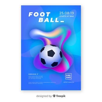 Modelo de cartaz de futebol com formas fluidas