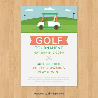 Modelo de cartaz de golfe com caddie