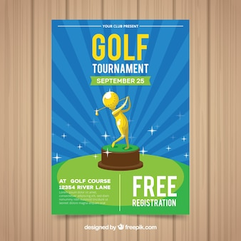 Modelo de cartaz de golfe com troféu dourado