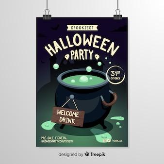 Modelo de cartaz de halloween de caldeirão