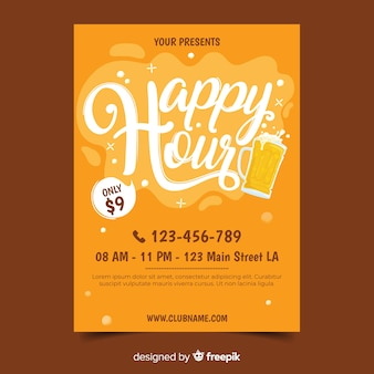 Modelo de cartaz de happy hour