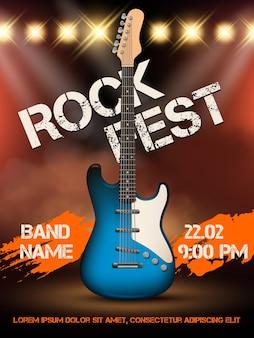 Modelo de cartaz de ilustração realista de guitarra de música rock. evento de rock de ilustração musical, festival de guitarra musical